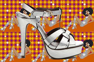 S12✪ 60er 70er Jahre Hippie Plateau Schuhe Sandalette Disco Metallic silber