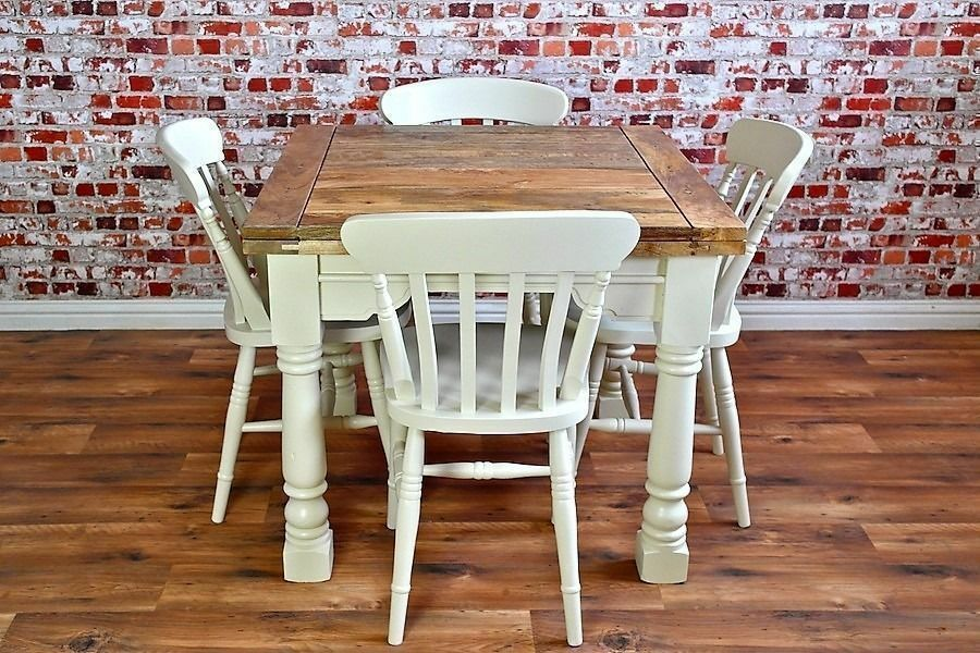 Extending Rustic Farmhouse Dining Table Set - Drop Leaf - Available in a Range of Farrow and Ball