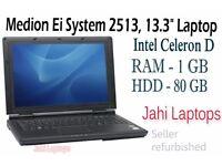 """Medion Ei System 2513, 13.3"""" Laptop, Intel Celeron D, 1GB RAM, 80GB HDD - 0628"""