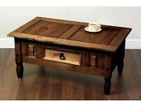 Brand New Corona Coffee Table, Bookcase display cabinet with door Solid Wood Dark
