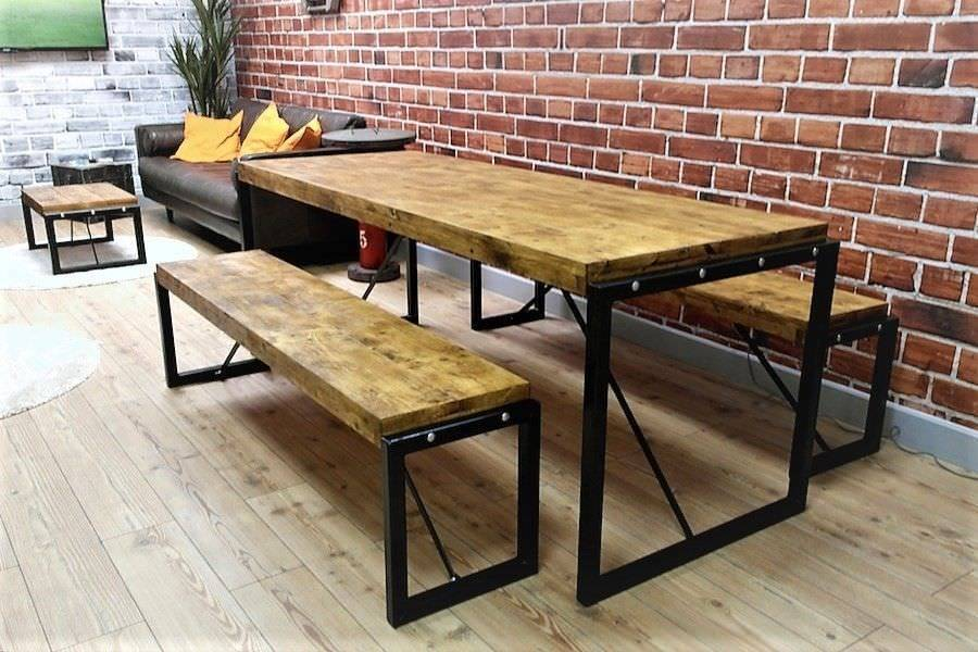 4ft Industrial Reclaimed Rustic Pine Dining Kitchen Table Benches Steel    Delivery Available