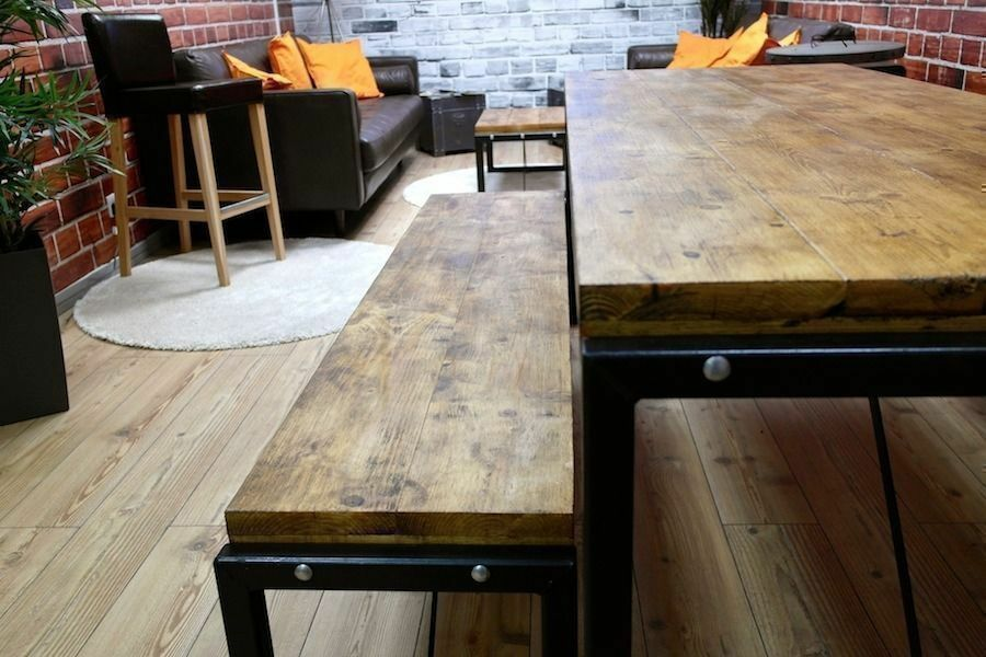 Superieur 5ft Industrial Reclaimed Wood Steel Metal Kitchen Dining Table Bench Set