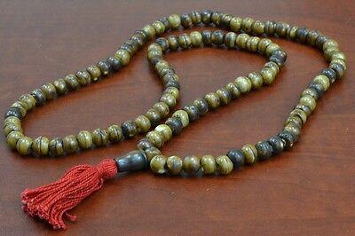 108 PCS COFFEE BROWN TIBETAN BUDDHIST BUFFALO BONE MALA PRAYER BEADS 8MM #T-1823