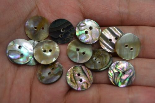 12 PCS ROUND ABALONE SHELL SEWING TWO HOLES BUTTONS 15MM #2293