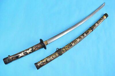 Vintage Handmade Japanese Sword Samurai Katana Folded Damascus Blade With Sheath