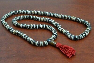 108 PCS STRIPE TIBETAN BUDDHIST BONE MALA PRAYER BEADS 8MM #T-1817