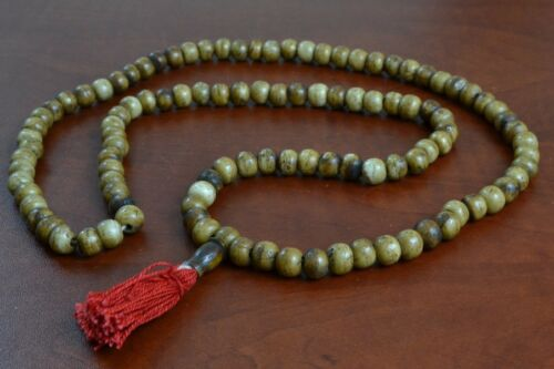 108 PCS TIBETAN BUDDHIST COFFEE BROWN BUFFALO BONE MALA PRAYER 10MM #T-1831