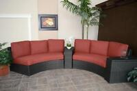 Beautiful Curved Outdoor Patio Set w Storage Benches - Must See!