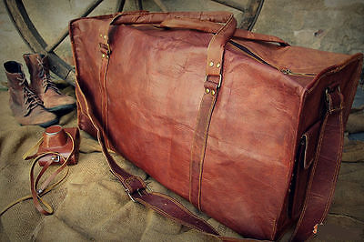 "New Men Brown Vintage Genuine Leather Cowhide 24"" Travel Luggage Duffle Gym Bag"