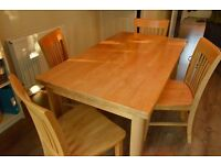 Solid wooden dining table & 4 chairs