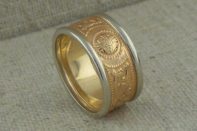 14K Celtic Warrior Shield Wedding Ring White Gold Trim Irish made BORU Size 6