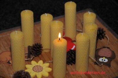 9 x Bienenwachskerzen L 100 % Bienenwachs Kerzen 110 x 32mm Handarbeit aus