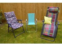 2 camping chairs and 1 lounger in excellent condition - Mountain Warehouse