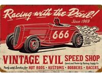 Racing With The Devil Vintage Evil Racing Parts Tin Metal Sign 666 Logo Ad Car