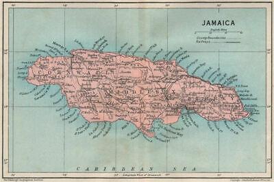 JAMAICA. Vintage map. West Indies. Caribbean 1927 old vintage plan chart