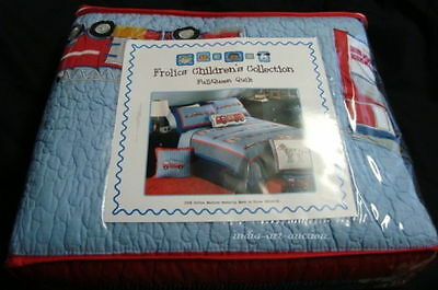 New Frolics Quilt Full Queen Quilt 4 p set FIRE FIGHTER TRUCK DOG HYDRANT COTTON