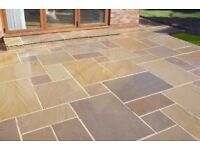 Indian Sandstone Multi Buff Mixed Sized leftover slabs approx 8 Sq Metre