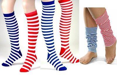 rknie / Knie-Strümpfe Stulpen rot- oder blau-weiß gestreift (Gestreifte Strümpfe)