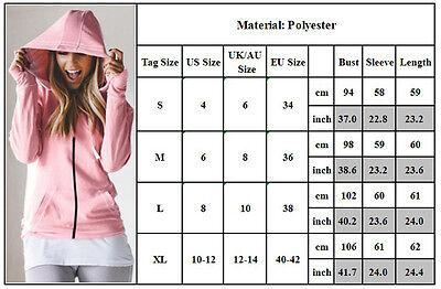 Winter Plain Zip Up Fleece Hoody Women Sweatshirt Coat Jacket Top Hoodies 4-14 5