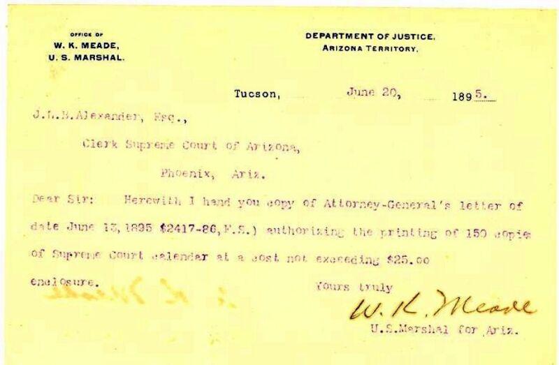 U.S. MARSHAL W.K. MEADE - Arizona Territory Document