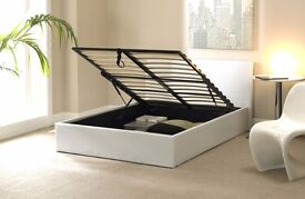 DOUBLE OTTOMAN STORAGE BED FRAME ( BLACK,BROWN & WHITE ) FREE DELIVERY