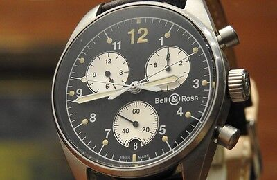 Bell & Ross The Most popular & Rare Double Chronograh Hands Watch with Box Mens