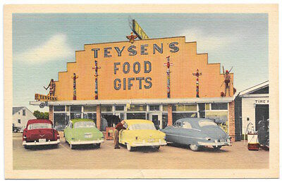 Linen Postcard Tysons Historic Museum  Food   Gifts In Mackinaw City  Mi 103970