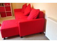 IKEA LUGNVIK Red Sofa bed with chaise longue