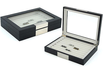 36 Cufflink Wood Case Ring Storage Box Cuff Links Jewelry Display - 412036