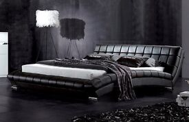 """Luxury Designer 4FT 6"""" Double Leather Bed Frame"""