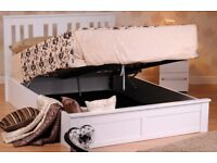 CHEAPEST PRICE EVER- BRAND New Oak Or White Wooden Ottoman Storage Bed in Double and king size