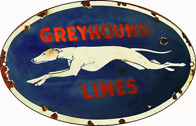Reproduction Greyhound Lines Bus Sign 9X14 Oval