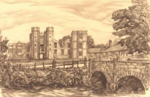 MIDHURST. Cowdray Ruins. Sussex. By Adrian Hill 1949 old vintage print picture