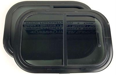 "12"" x 18"" 90° Radius Horizontal Trailer Window with Screen, Clamp Ring - 2 Pack"