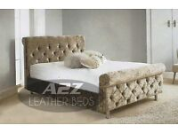 crushed velvet sleigh beds with free mattress !!!