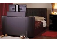 BRAND NEW TV BED LEATHER FRAME WITH STORAGE GASLIFT + DELIVERY