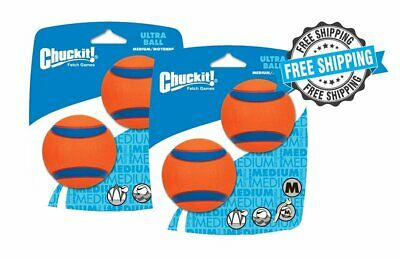 Chuckit! ULTRA BALL MEDIUM Durable Rubber Fetch Floating Dog Toy (4 Pack)