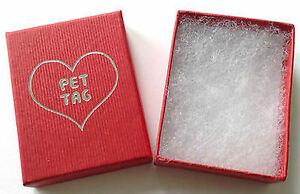 Pet ID Tag Gift Box in Red, Size Aprrox Size 55mm x 75mm x 25mm