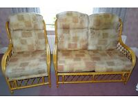 Cane bamboo Conservatory 3 Piece suite Set 2 Seater Sofa & 2 Chairs
