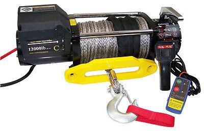 elektrische 12V Winde Seilwinde Forstwinde bis 10800kg mit 28m Synthetikseil NEU