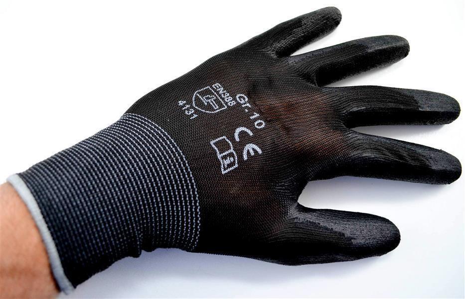 24 Paar PU Handschuhe Montagehandschuhe Arbeitshandschuhe Nylonhandschuh schwarz