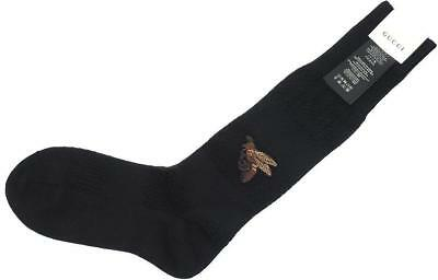 NEW GUCCI MEN'S BLACK ARTIC KNIT WOOL BEE EMBROIDER WINTER SOCKS 100% AUTH M