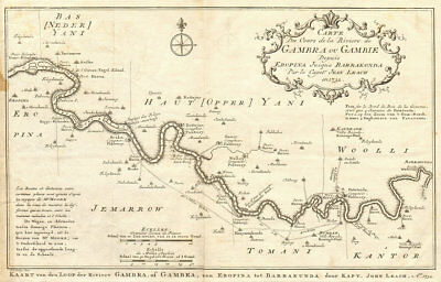 Rivière de Gambra ou Gambie, depuis Eropina… Gambia river BELLIN/SCHLEY 1747 map