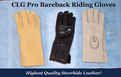 - CLG STEERHIDE Bareback Riding Gloves, RIGHT HANDED, choice of size and color