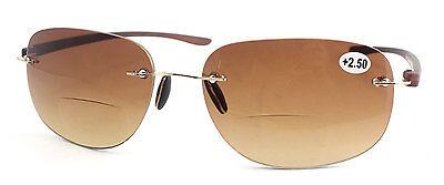 Getönt randlose Bifokale Lesebrille Sonnenbrillen Leser +1.0 ~ +3,5 AFA161