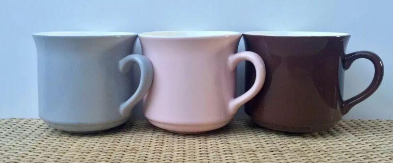 Vintage Crown Lynn  New Zealand CUPS X3 Grey, Pink & Brown