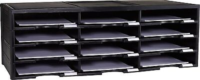 Paper Storage Organizer Tray 12 Comparment Literature Sturdy Office Home Black