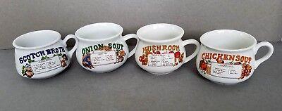 Collectible SOUP RECIPE Soup Mugs Mushroom Chicken Onion Scotch Broth Scotch Broth Soup