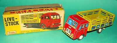 Vintage Boxed Cragstan Japanese Tin Toy Livestock Truck - Friction Toy No. 05617