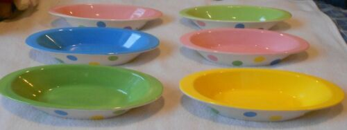 Lot 6 Century Polka Dot & Multi Color Banana Split Boats Ice Cream Bowls Dishes